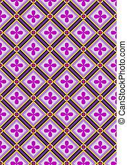 fiori viola, in, nero, quadrato