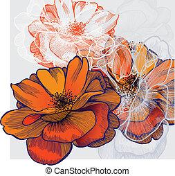 fioritura, fondo, astratto