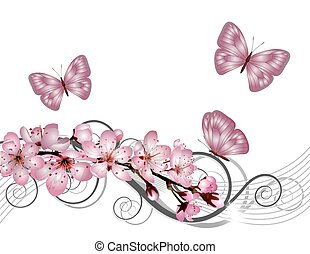 fioritura, sakura, ciliegia, ramo, con, fiori dentellare