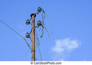 fios, antigas, elétrico, pilar, vidro, insulators, desconectado