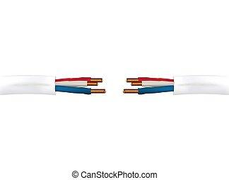 fios, cabo, isolado, ilustração, realístico, vetorial, elétrico, fundo, 3d, branca, chão, phase.