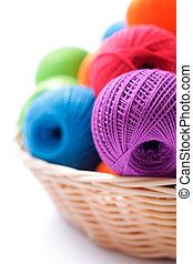 fios, cesta, branca, tricotando, fundo