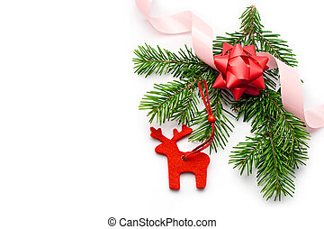 Fir and ribbon isolated on white