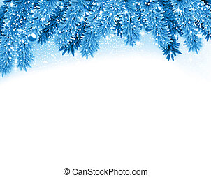 Fir blue christmas background. - Detailed blue christmas...