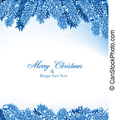 Detailed blue frame with fir. Christmas background. Vector illustration.
