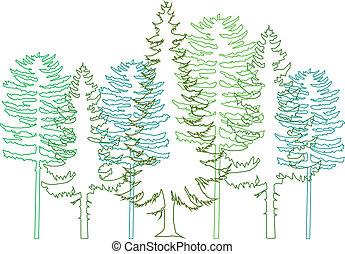 fir bomen, vector