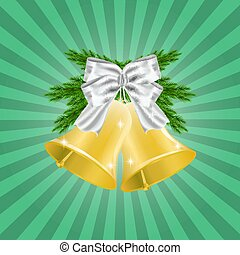 Fir Brances and Golden Christmas bell with red ribbon and bow. Christmas decoration. illustration isolated on green background.