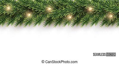 Fir branch with light bulb garland horizontal seamless pattern. Vector seamless Christmas tree background.