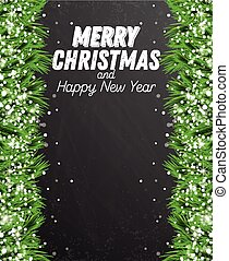 Fir Branch with Snowflakes on Chalkboard Background.