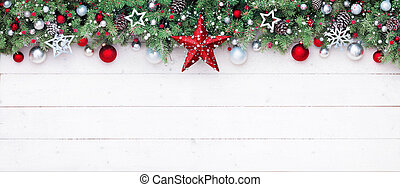 Fir Branches And Decoration On White Plank - Christmas Border