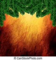 fir branches on the background of p