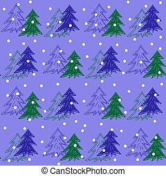 Fir Christmas trees in snow seamless pattern