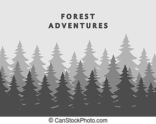 Fir forest silhouettes vector background in mist
