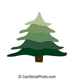 Fir in flat style symbol. Cartoon tree isolated on white background.