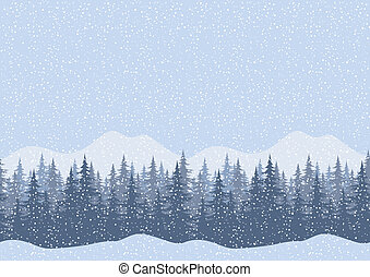 fir, Landskab, Vinter, Træer,  seamless