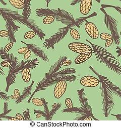 Fir pine cone seamless pattern, vector illustration