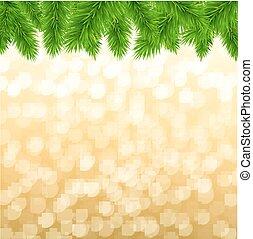 Fir Tree Border With Gradient Mesh, Vector Illustration