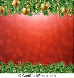 Fir Tree Border With Red Background With Gradient Mesh,...