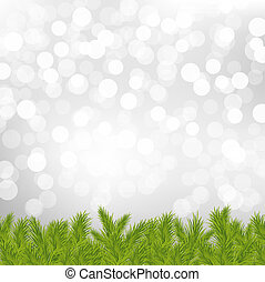 Fir Tree Border With Silver Bokeh With Gradient Mesh, Vector Illustration