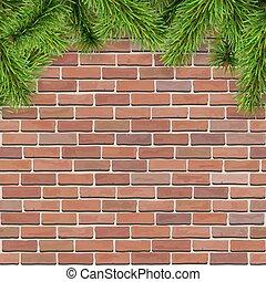 fir tree brances on red brik wall