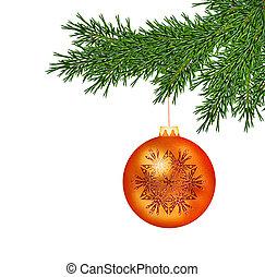Fir tree branch with ball