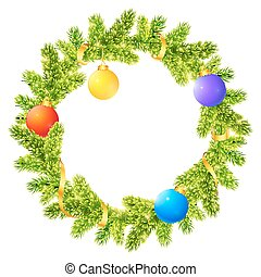 Fir tree branches Christmas wreath with colored balls and golden ribbon