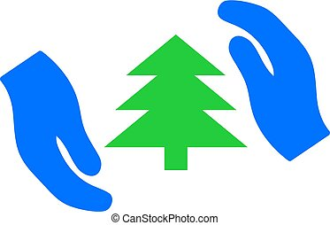Fir Tree Care Hands Vector Icon Flat Illustration