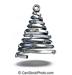 fir-tree, de, um, metálico, cano
