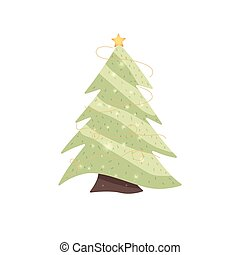 Fir-tree decorated with a star and garlands. Vector illustration in a flat style