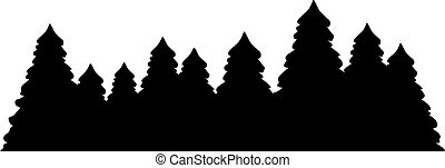 Fir tree forest silhouette