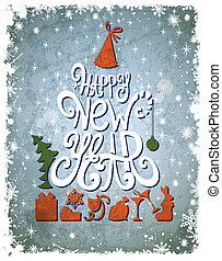 Fir tree forming from letters. Happy New Year old...