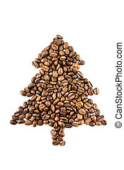 fir-tree from coffee beans isolated on white
