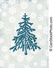 Fir tree - Hand- drawn fir tree on grunge background with...