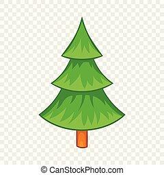 Fir tree icon in cartoon style