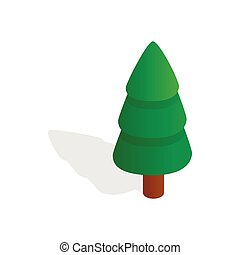 Fir tree icon, isometric 3d style