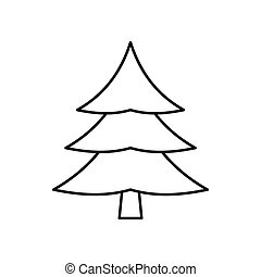 Fir tree icon, outline style - Fir tree icon in outline...
