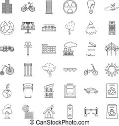 Fir tree icons set, outline style