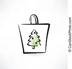 fir-tree in a paper bag grunge icon