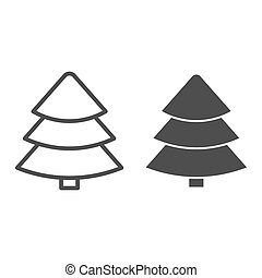 Fir tree line and glyph icon. Christmas tree vector illustration isolated on white. Tree outline style design, designed for web and app. Eps 10.