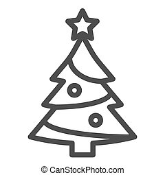 Fir-tree line icon. Xmas vector illustration isolated on white. Christmas tree outline style design, designed for web and app. Eps 10.