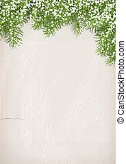 Fir Tree on Plaster Wall Background