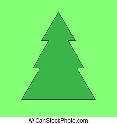Fir tree on the green background