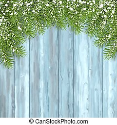 Fir Tree on Wooden Background