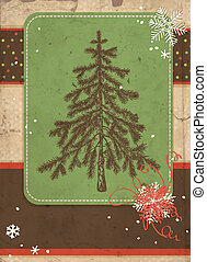Scrapbook background with hand- drawn fir tree