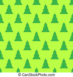 Fir tree seamless pattern on the green background