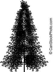 Fir tree silhouette on white background. Vector illustration.