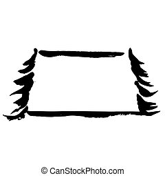 Fir tree silhouettes frame. Black grunge Christmas trees. Watercolor spruce ornament isolated on white background. Vector illustration.