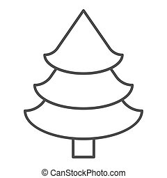Fir tree thin line icon. Christmas tree vector illustration isolated on white. Spruce outline style design, designed for web and app. Eps 10.