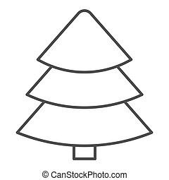 Fir tree thin line icon. Christmas tree vector illustration isolated on white. Tree outline style design, designed for web and app. Eps 10.