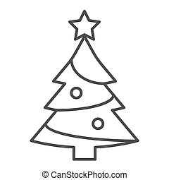 Fir-tree thin line icon. Xmas vector illustration isolated on white. Christmas tree outline style design, designed for web and app. Eps 10.